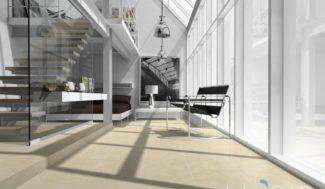 Otwarte schody w salonie zaprojektowanie w programie do projektowania wnętrz InteriCAD