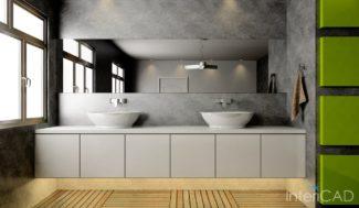 betonowa łazienka wizualizacja w porgramie do projektowania wnętrz InteriCAD