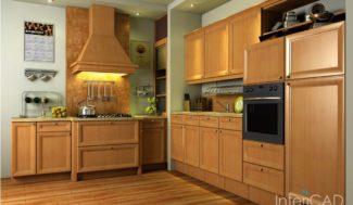 drewniane blaty kuchenne i fronty w programie do proejektowania wnętrz InteriCAD