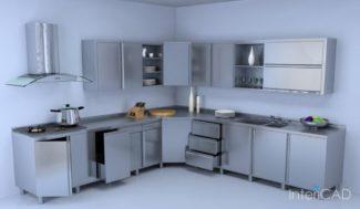 metalowe fronty kuchenne model 3D w programie do projektowania wnętrz InteriCAD