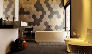 projekt łazienki płytki heksagonalne w programie do proejtkowania wnętrz InteriCAd