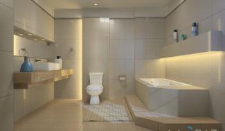projekt łazienki z zabudową nieregularnej wanny w programie InteriCAD