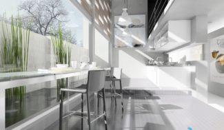 projekt nowoczesnej kuchni wizualizacja w programie do projektowania wnętrz InteriCAD
