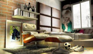 projekt pokoju młodzieżowego wizualizacja w porgramie do projektowania wnętrz InteriCAD