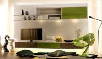 projekt salonu półka pod telewizor w programie do projektowania wnętrz InteriCAD