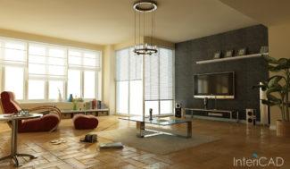 projekt salonu wizualizacja w programie do projektowania wnętrz InteriCAD