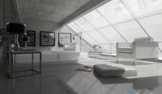 salon na podddaszu wizualizacja w programie do projektowania wnętrz InteriCAD