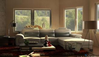 salon z białą sofą wizualizacja w programie do projektowania wnętrz InteriCAD