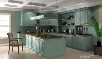 wizualizacja kuchni z wyspą w programie do projektowania wnętrz InteriCAD