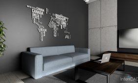 wizualizacja salonu z naklejka na scianie w programie intericad
