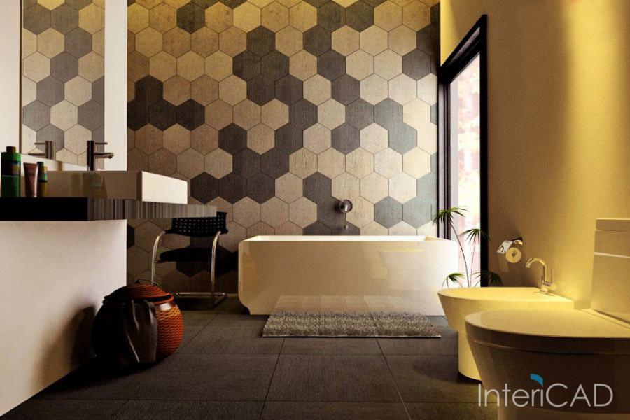 Projekt łazienki Płytki Heksagonalne W Programie Do